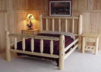Cabin Pine Log Bed