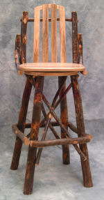 Rustic Log Bar Stools With Backs For Sale From Great Lakes
